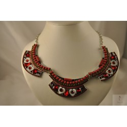 Collier coeurs strass rouge