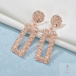 Boucles d'oreilles, tendance rectangle, rose gold