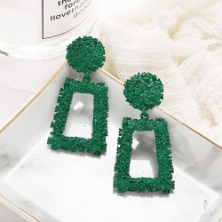 Boucles d'oreilles, rectangle grand modèle, vert