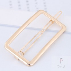 Barrette, bijoux de cheveux minimaliste rectangle doré
