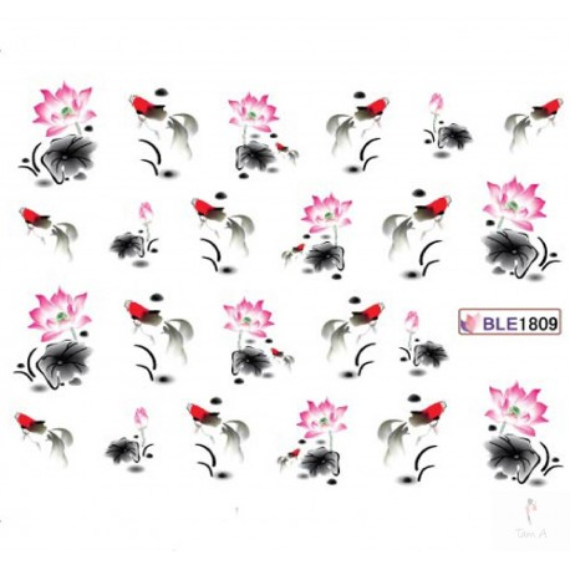 Water décal motif fleur d'asie BLE 1809